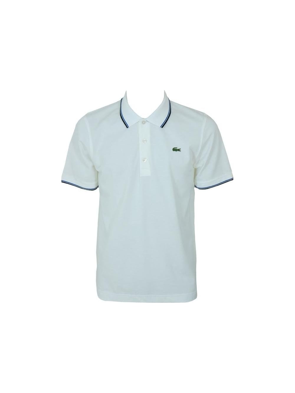 lacoste sport tipped collar polo in blanc northern threads. Black Bedroom Furniture Sets. Home Design Ideas