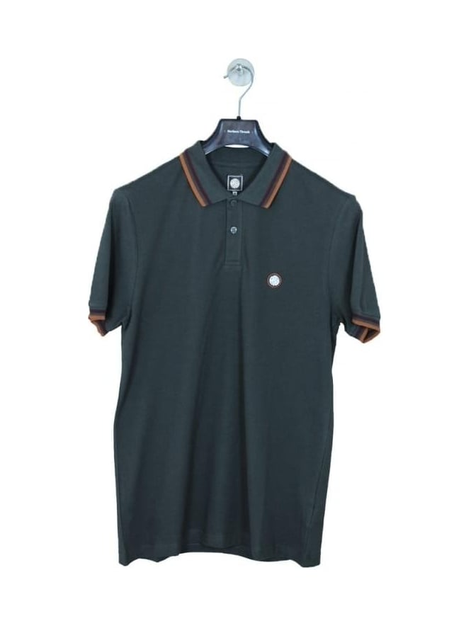 Pretty Green Tipped Logo Polo - Dark Grey