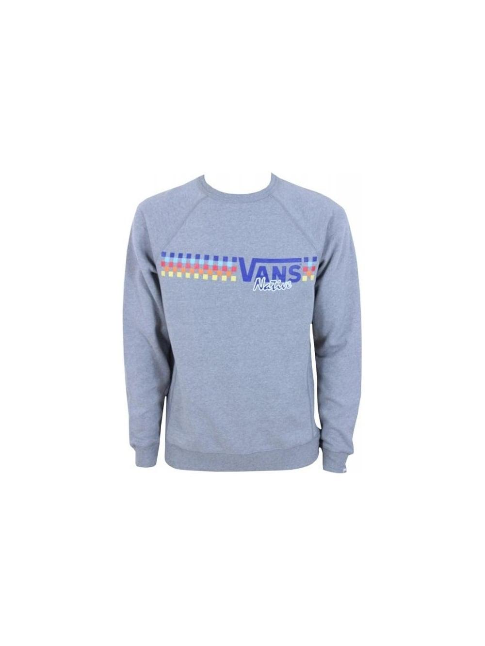 5539e486b7ff Vans Native Check Crew Sweater in Concrete - Nortern threads
