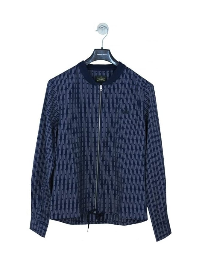 Vivienne Westwood Anglomania Bomber Collar Orb Logo Shirt - Navy
