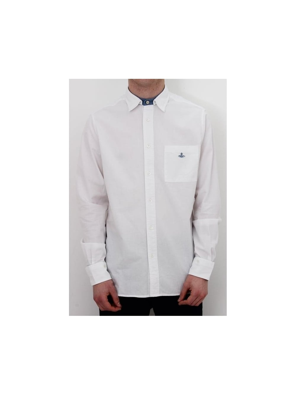 a01b8f3941eb5 Mens Vivienne Westwood Anglomania Detachable Collar Shirt - White ...