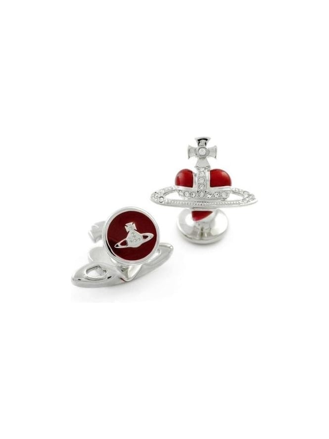Vivienne Westwood Anglomania Diamante Heart Cufflinks - Silver/Red