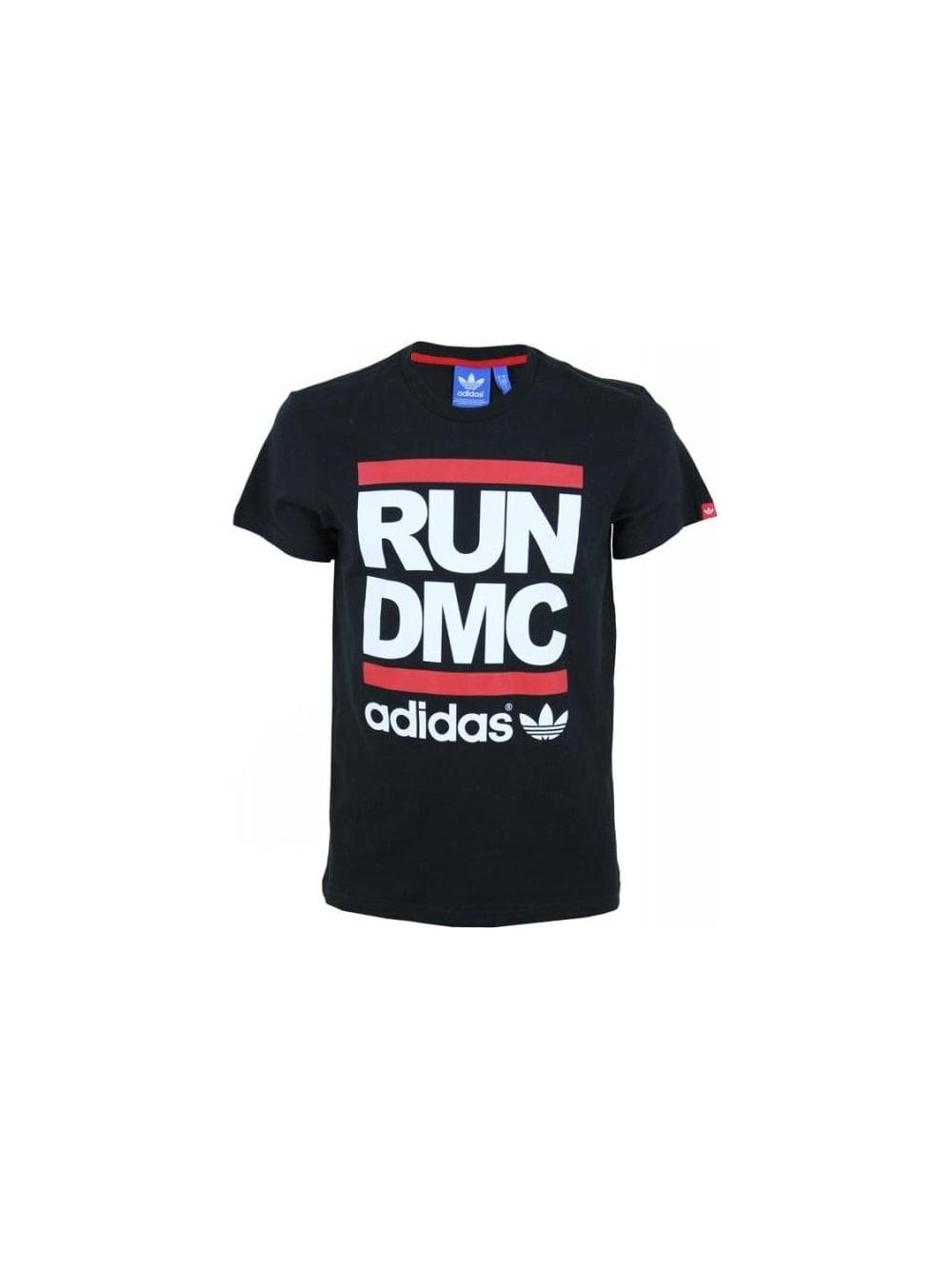 adidas originals x run dmc logo t shirt in black. Black Bedroom Furniture Sets. Home Design Ideas